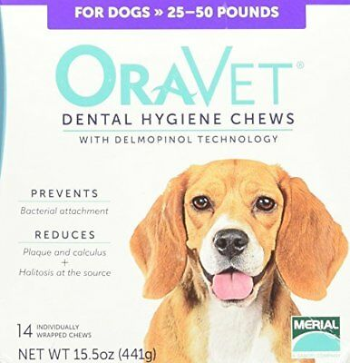 Merial 14 Count Oravet Dental Hygiene Chew for Medium Dogs