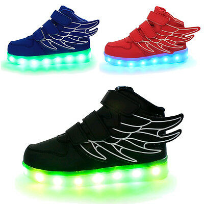 Boy Girl Upgraded USB Charging LED Light Shoes for Kids Flashing Sneakers Wings