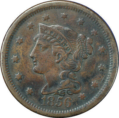 1856 Braided Hair Large Cent / Slanted 5