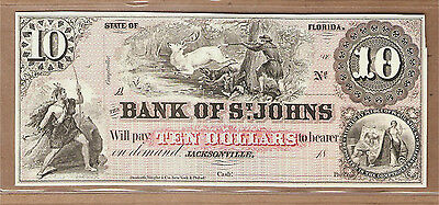 $10 BANK OF ST. JOHNS~Jacksonville Florida 18__~Intaglio Print Banknote~ABNC