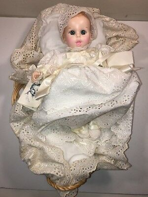 Vintage 1979 Gerber Baby Doll 12 Inch White Christening Gown w/ Basket 50th Annv