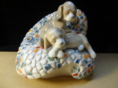 "Lladro Gaudi Collection ""In Barcelona"" Puppies on Bench  (Model 6663 Retired)"