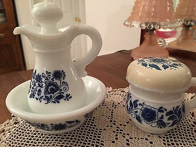 Avon Blue Delft & Milk Glass 3 Piece Bowl, Pitcher, And Handled Cup Set