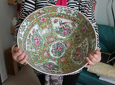"""A Perfect 15.8"""" (40.1cm) Chinese C19th Cantonese Famille Rose Enamel Punch Bowl"""