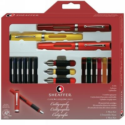 Sheaffer Maxi Calligraphy Pen Gift Set 3 Pens Rubberised Grip Traction Dimples