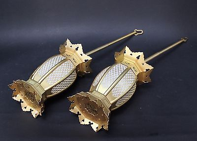 Two Lovely Japanese Taisho Period Metal Miniature Temple Lanterns for a Butsudan
