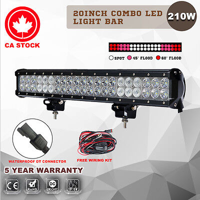 20'' Inch 210W Flood Spot LED Light Bar Offroad Truck 4WD Suv Work Driving Lamp