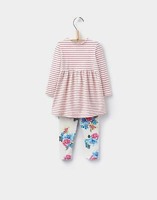 Joules 124448 Baby Girls Christina Sleeved Dress and Legging Set in Pink Stripe