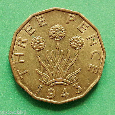 1943 George VI Threepence A/UNC A/Uncirculated SNo40164
