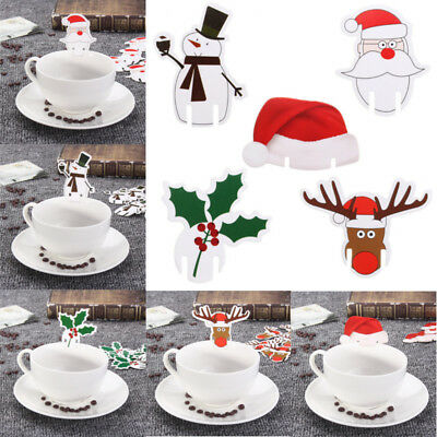 10 PCS Christmas Snowman Santa Claus Hat Wine Glass Decoration Xmas Party Cards