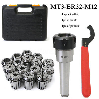 Precision ER32 Collet Chuck MT3 Shank W/ Spanner + Box For Milling Machine