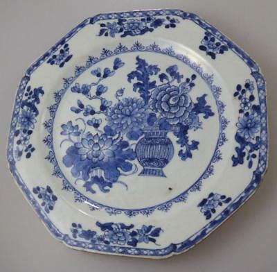 ANTIQUE CHINESE BLUE+WHITE OCTAGONAL PLATE EARLY 1800s
