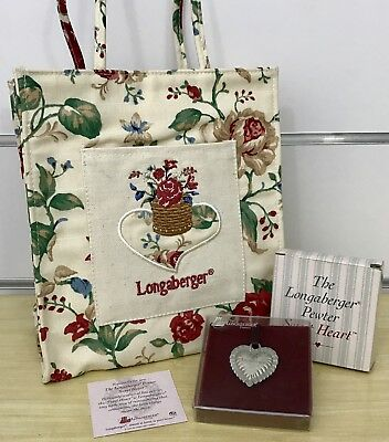 Longaberger Gift Lot: Pewter Sweet Heart and Mini Tote Bag