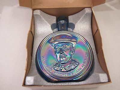 "Vintage ""Woodrow Wilson"" First Edition Wheaton Decanter Blue Iridescent Glass"