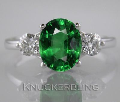 2.55 Carat Emerald and F VS Diamond Ring in 18ct White Gold Engagement Ring