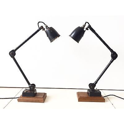 Vintage Pair Of 1930's EDL Industrial Machinists Factory Bedside Lamp Lamps
