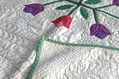 Gorgeous 1930's Master Hand Quilted Vibrant Tulips Quilt Nile Green Stunner EXC