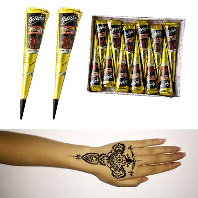 Natural Henna Mehndi Tattoo Pen Paste Cone Temporary Tattoo Mehandi ink 3 Colors