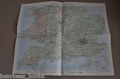 """WALES & ENGLAND SOUTH  Map, 1955, 19"""" x 24"""""""