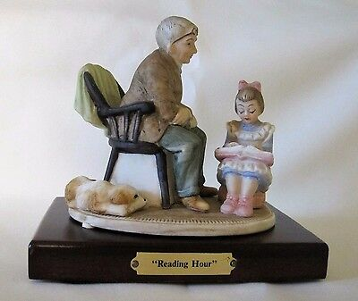 Norman Rockwell Reading Hour Figurine Girl Child Reading To Grandpa Father Dog