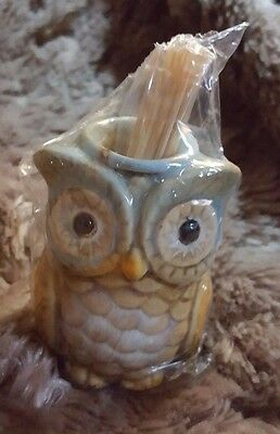 Ceramic Fall Holiday Wide Eyed Hoot Owl Toothpick Holder Comes w/ Toothpicks