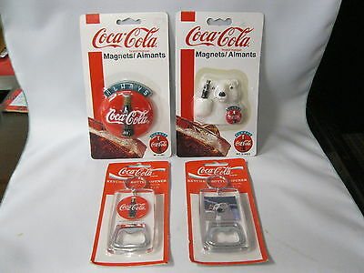 Coca Cola Two Ref. Magnets And Two Key Chain With Opener   Nos
