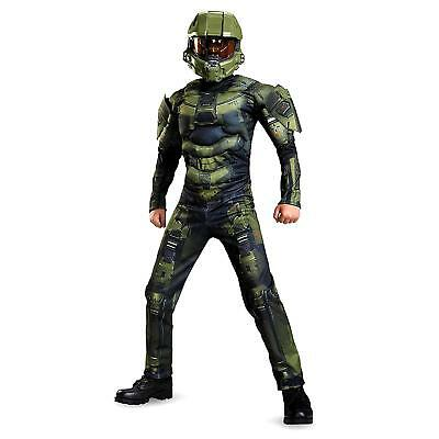 NEW HALO Master Chief Classic Muscle Boys size L 10/12 Licensed Costume Disguise