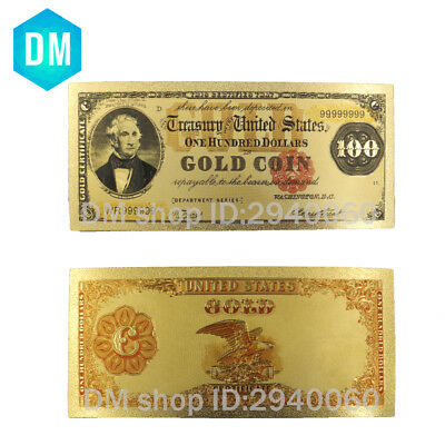 1908 Year 100 Dollar American 24k Gold Banknote Currency Bill Note Metal Crafts