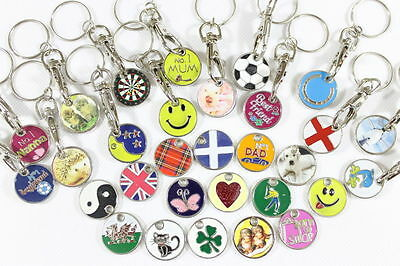 Trolley Token Keyring Chain £1 Coin Supermarket Metal Novelty Gift Collectable