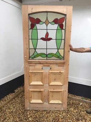 Large Stained Glass Victorian Front Door Period Old Reclaimed Antique Lead 1900