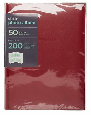 WHSmith Red 7x5 Photo Album 50 White Acid-Free Slip-in Leaves Holds 200 Photos