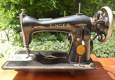 Vintage 1935 Singer Sewing Machine AE465040 Cords Pedal No Case Leather Denim