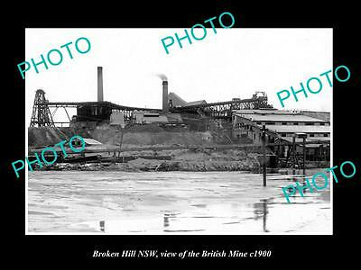 OLD LARGE HISTORIC PHOTO OF BROKEN HILL NSW, VIEW OF THE BRITISH MINE c1900