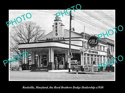 OLD LARGE HISTORIC PHOTO OF ROCKVILLE MARYLAND, THE DODGE MOTOR Co STORE c1930