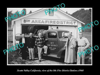 OLD LARGE HISTORIC PHOTO OF SCOTTS VALLEY CALIFORNIA, THE 8th FIRE STATION c1960
