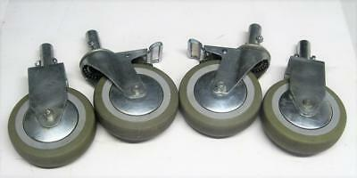 """Set of 4 Swivel Stem Casters with 5"""" Polyurethane Wheels & 2 with Brakes Base"""