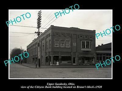Old Large Historic Photo Of Upper Sandusky Ohio, View Of The Citizen's Bank 1920