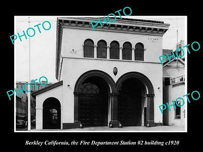 Old Large Historic Photo Of Berkley California, Fire Department Station 1920 1