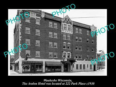 OLD LARGE HISTORIC PHOTO OF WAUKESHE WISCONSIN, VIEW OF THE AVALON HOTEL c1930