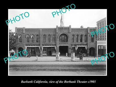 Old Large Historic Photo Of Burbank California, View Of The Burbank Theater 1905