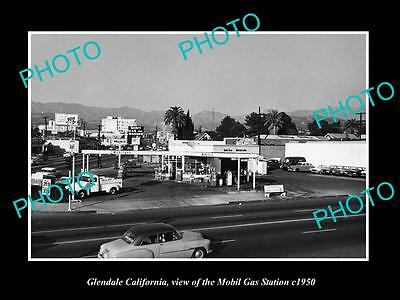 OLD LARGE HISTORIC PHOTO OF GLENDALE CALIFORNIA, THE MOBIL OIL GAS STATION c1950