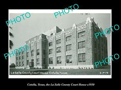 OLD LARGE HISTORIC PHOTO OF COTULLA TEXAS, LA SALLE COUNTY COURT HOUSE c1950