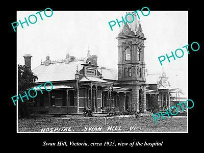 OLD LARGE HISTORIC PHOTO OF SWAN HILL VICTORIA, VIEW OF THE HOSPITAL c1925
