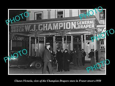 OLD LARGE HISTORIC PHOTO OF CLUNES VICTORIA, VIEW OF CHAMPIONS DRAPER STOP c1950