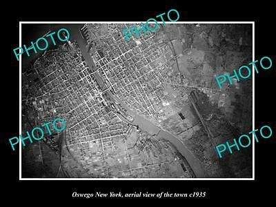 OLD LARGE HISTORIC PHOTO OF OWESGO NEW YORK, AERIAL VIEW OF THE TOWN c1935