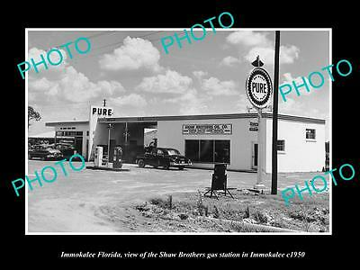 OLD LARGE HISTORIC PHOTO OF IMMOKALEE FLORIDA, THE PURE OIL GAS STATION c1950