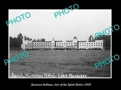 OLD LARGE HISTORIC PHOTO OF SYRACUSE INDIANA, VIEW OF THE SPINK HOTEL c1930