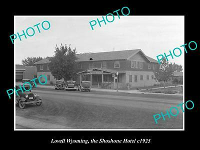 OLD LARGE HISTORIC PHOTO OF LOVELL WYOMING, VIEW OF THE SHOSHONE HOTEL c1925