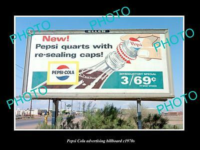 OLD LARGE HISTORIC PHOTO OF PEPSI COLA DRINK ADVERTISING BILLBOARD c1970s 7