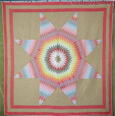 Fantastic Color and Hand Quilting! ANTIQUE c1880 Star of Texas QUILT 75x72""